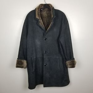 Blue duck shearling coat, size 42